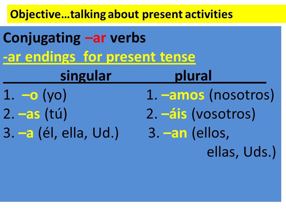 -ar endings for present tense singular plural_______