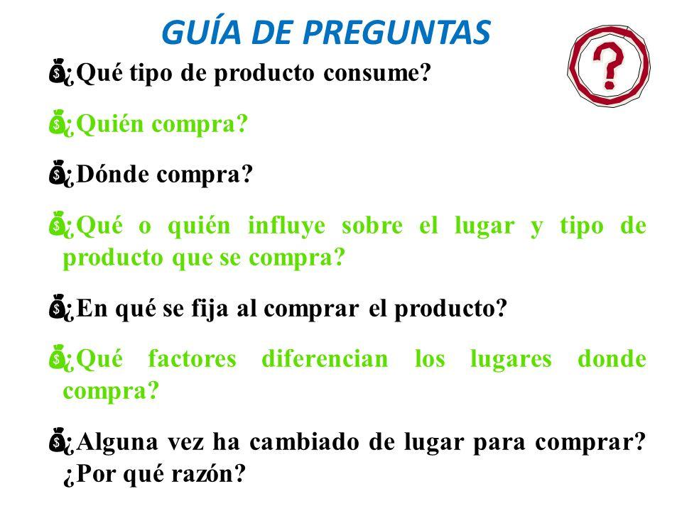 GUÍA DE PREGUNTAS ¿Qué tipo de producto consume ¿Quién compra