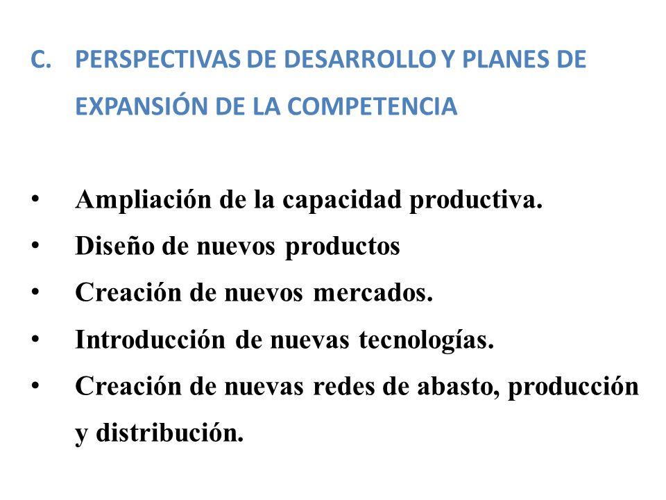 PERSPECTIVAS DE DESARROLLO Y PLANES DE EXPANSIÓN DE LA COMPETENCIA
