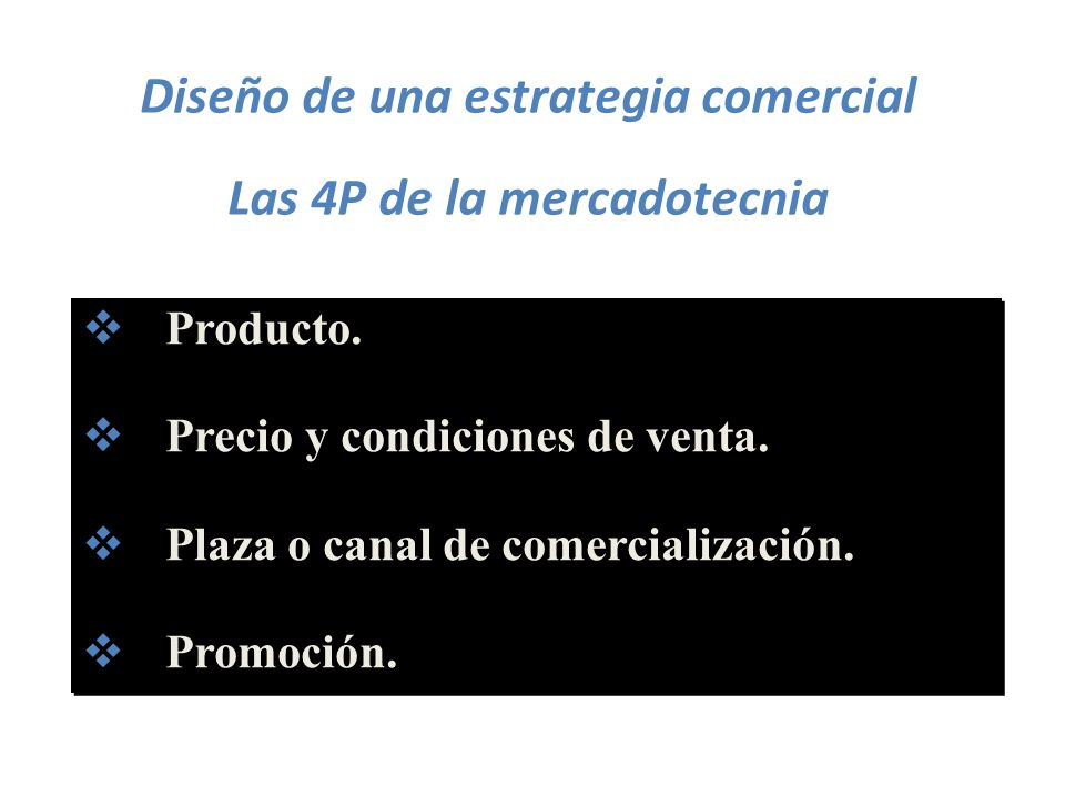 Diseño de una estrategia comercial Las 4P de la mercadotecnia