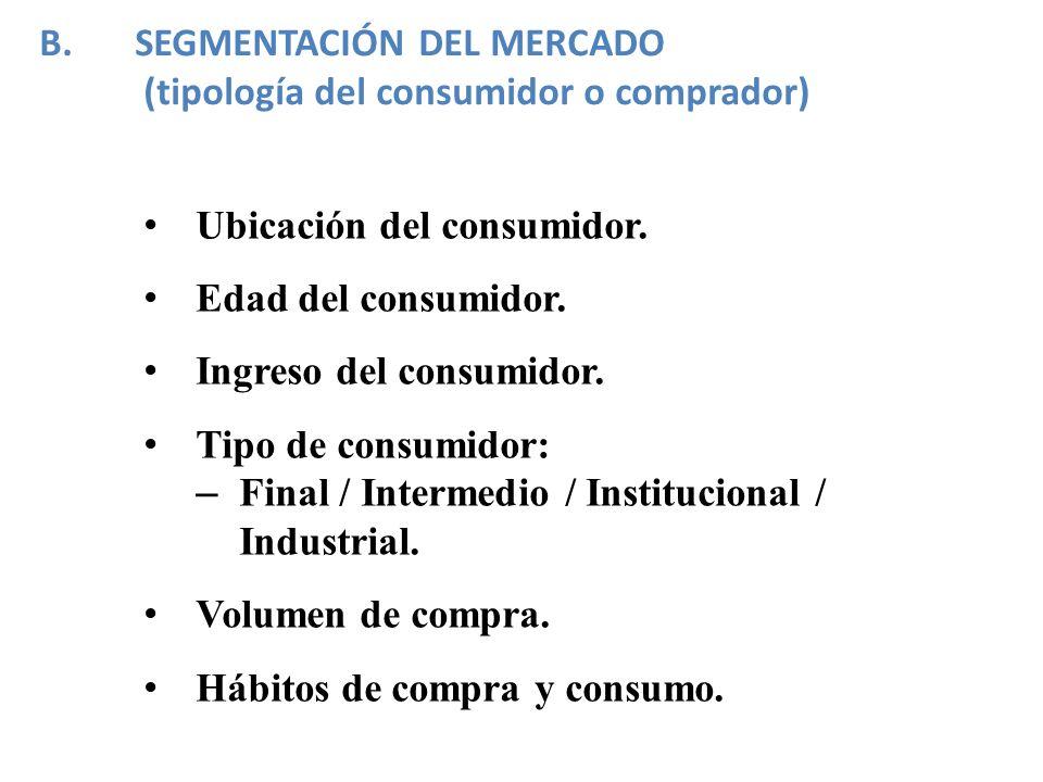 SEGMENTACIÓN DEL MERCADO (tipología del consumidor o comprador)