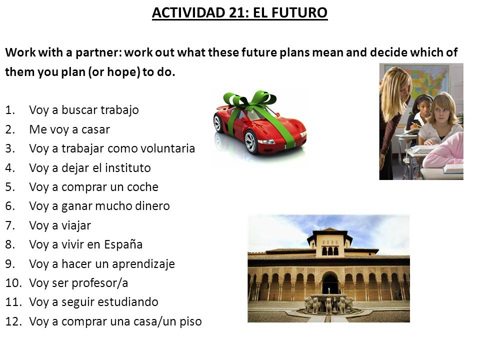 ACTIVIDAD 21: EL FUTURO Work with a partner: work out what these future plans mean and decide which of.