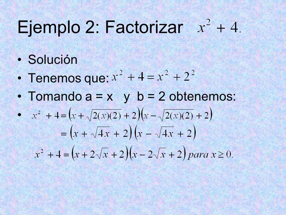 Ejemplo 2: Factorizar Solución Tenemos que: