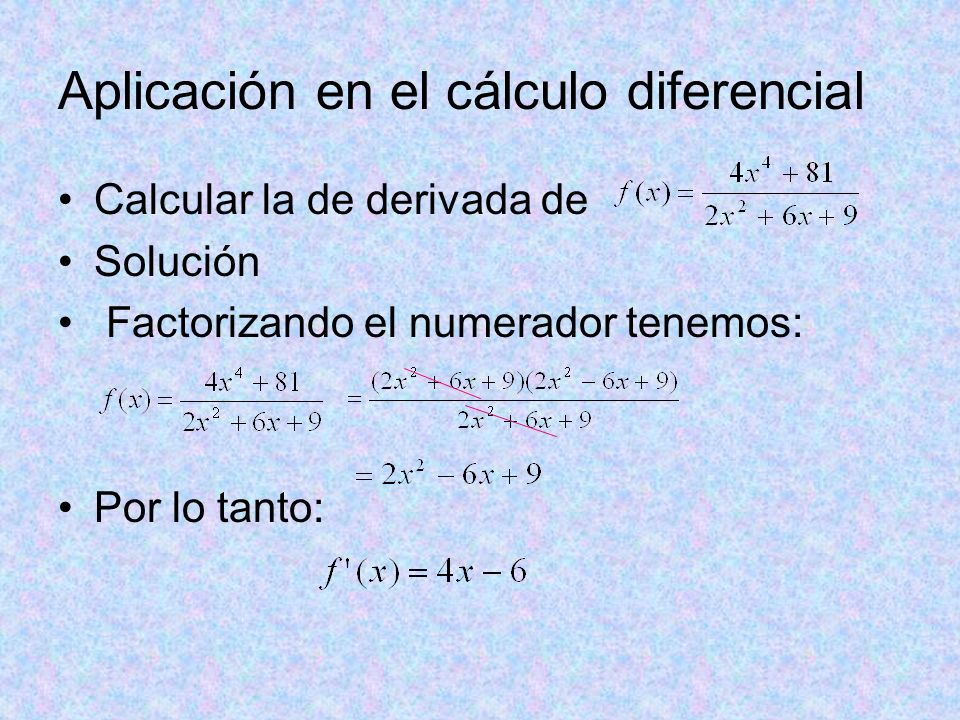 Aplicación en el cálculo diferencial