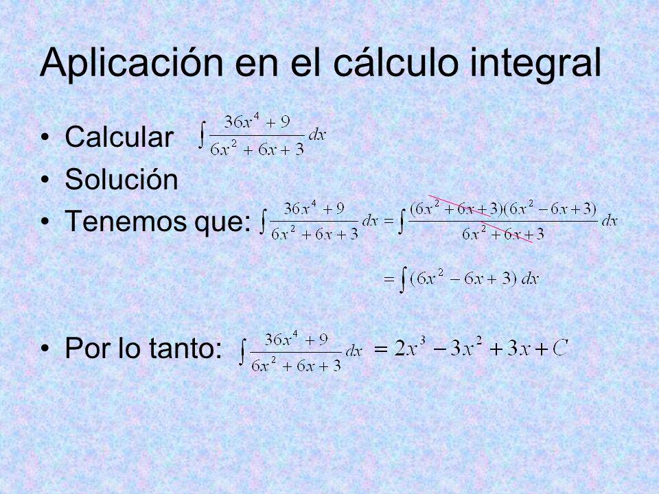 Aplicación en el cálculo integral