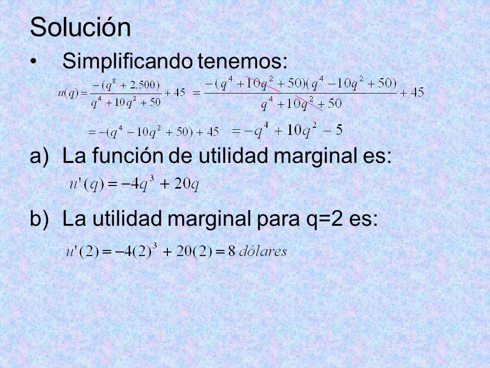 Solución Simplificando tenemos: La función de utilidad marginal es: