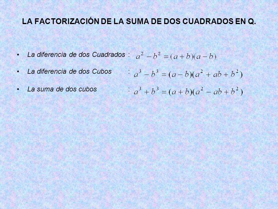 LA FACTORIZACIÓN DE LA SUMA DE DOS CUADRADOS EN Q.