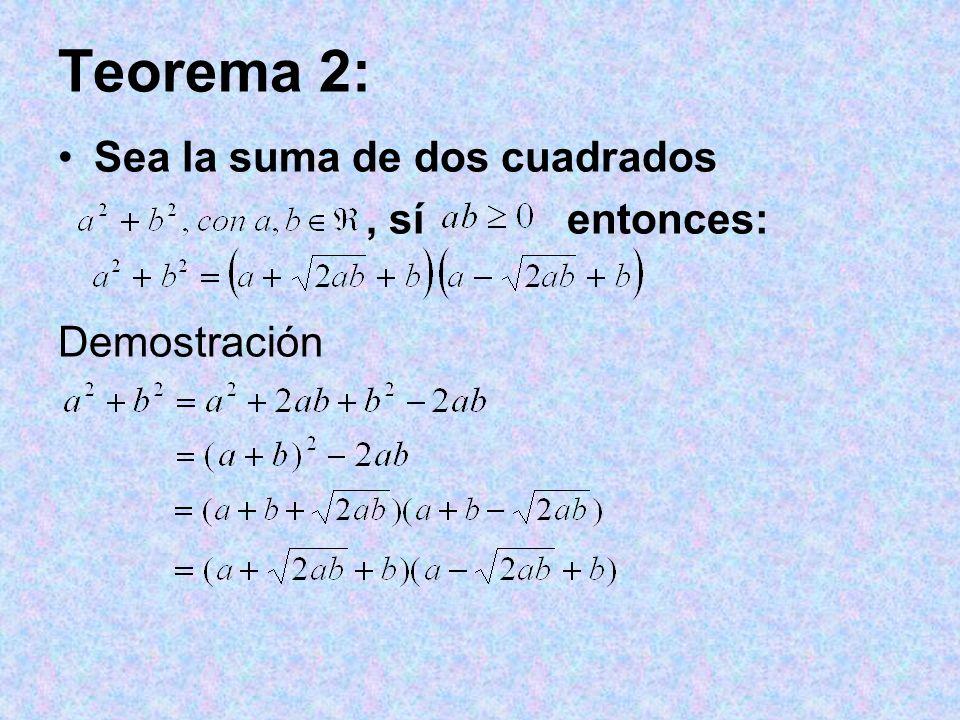 Teorema 2: Sea la suma de dos cuadrados , sí entonces: Demostración