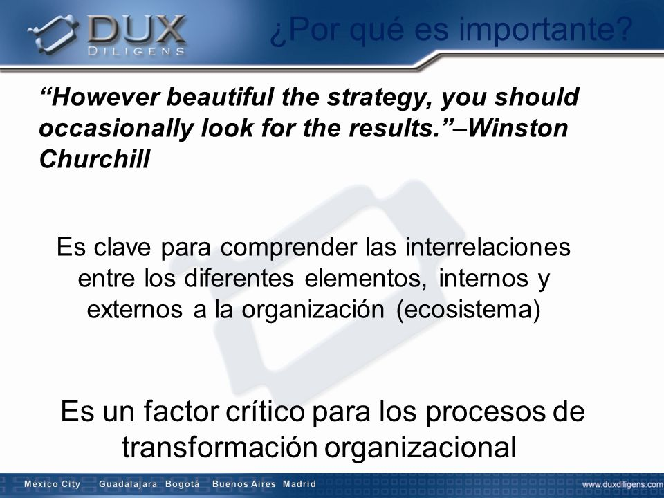 ¿Por qué es importante However beautiful the strategy, you should occasionally look for the results. –Winston Churchill.