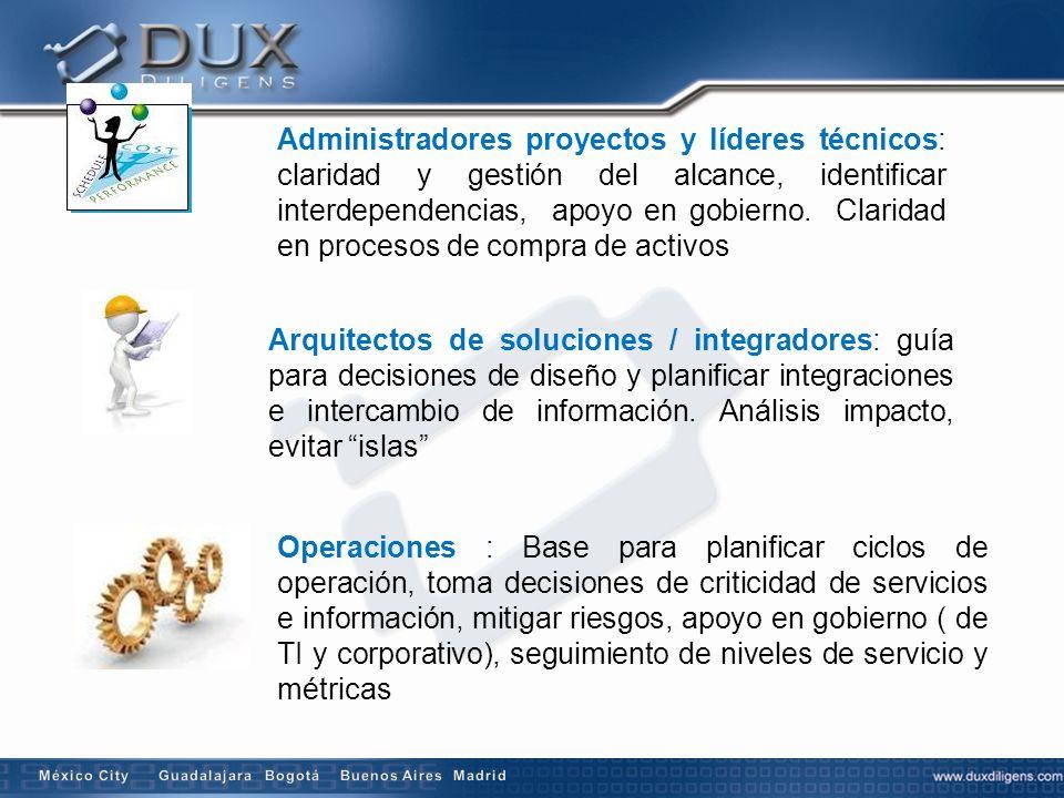 Administradores proyectos y líderes técnicos: claridad y gestión del alcance, identificar interdependencias, apoyo en gobierno. Claridad en procesos de compra de activos