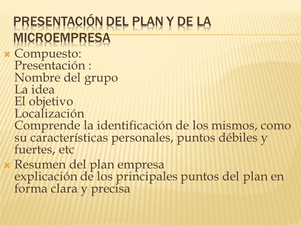 Presentación del plan y de la microempresa