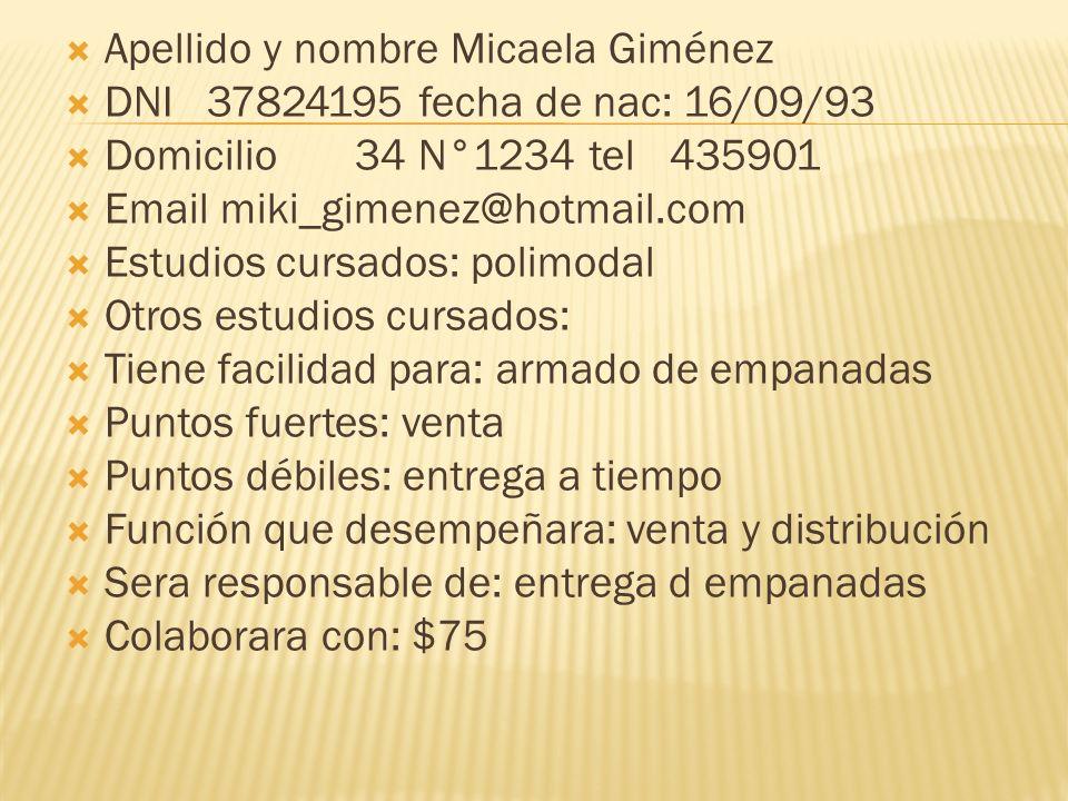 Apellido y nombre Micaela Giménez