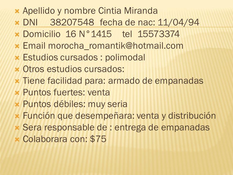 Apellido y nombre Cintia Miranda