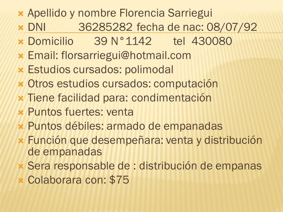 Apellido y nombre Florencia Sarriegui