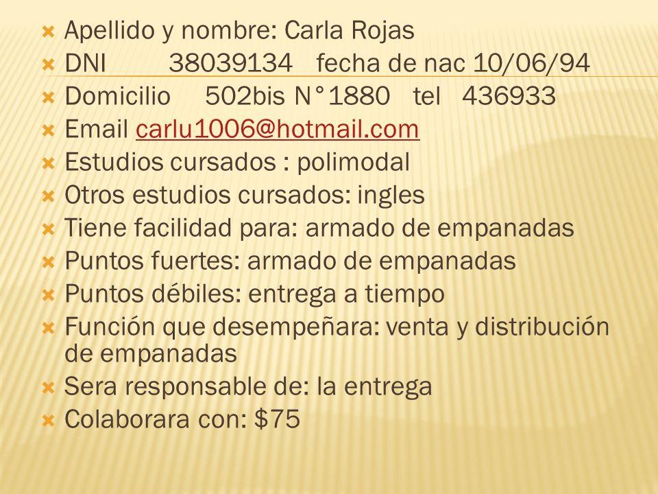 Apellido y nombre: Carla Rojas