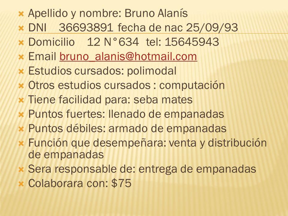 Apellido y nombre: Bruno Alanís
