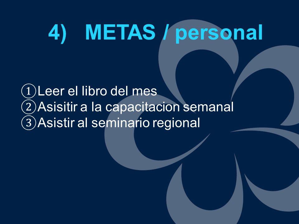 4) METAS / personal Leer el libro del mes