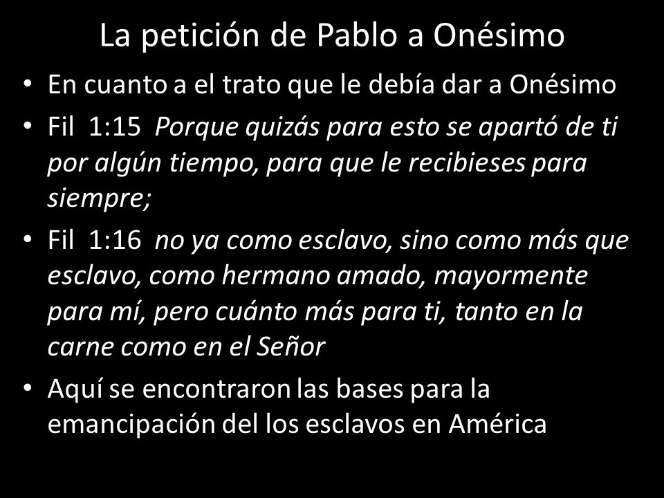 La petición de Pablo a Onésimo