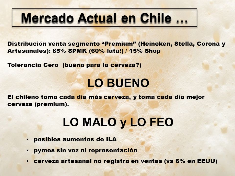 Mercado Actual en Chile …