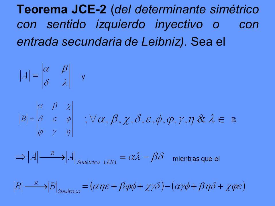 Teorema JCE-2 (del determinante simétrico con sentido izquierdo inyectivo o con entrada secundaria de Leibniz). Sea el
