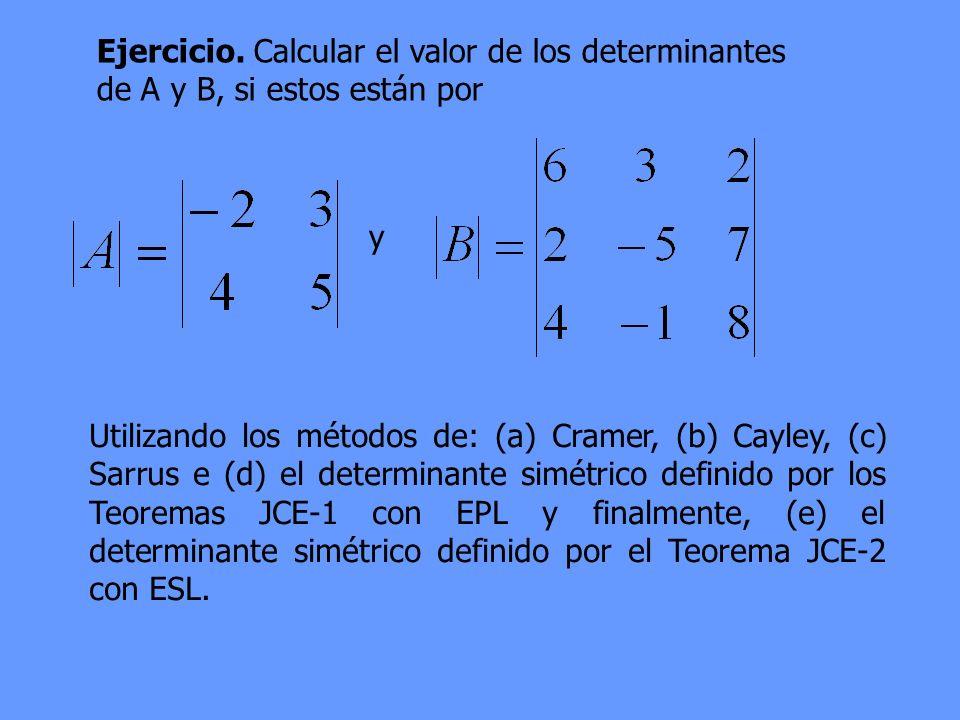 Ejercicio. Calcular el valor de los determinantes de A y B, si estos están por