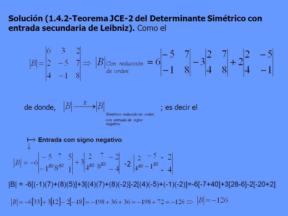 Solución (1.4.2-Teorema JCE-2 del Determinante Simétrico con entrada secundaria de Leibniz). Como el
