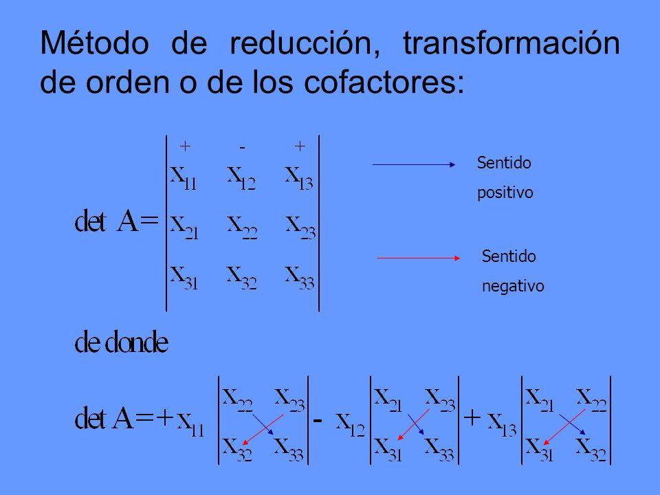Método de reducción, transformación de orden o de los cofactores: