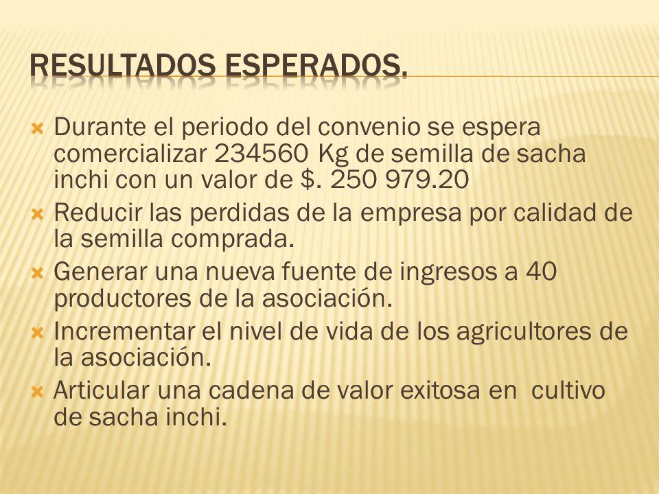 Resultados esperados. Durante el periodo del convenio se espera comercializar 234560 Kg de semilla de sacha inchi con un valor de $. 250 979.20.