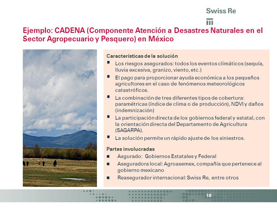 Ejemplo: CADENA (Componente Atención a Desastres Naturales en el Sector Agropecuario y Pesquero) en México