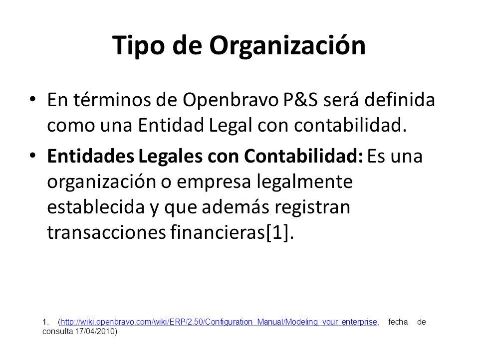 Tipo de Organización En términos de Openbravo P&S será definida como una Entidad Legal con contabilidad.