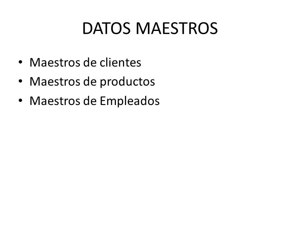 DATOS MAESTROS Maestros de clientes Maestros de productos