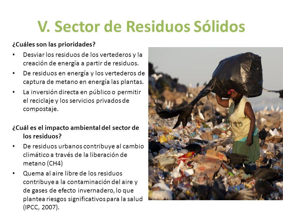 V. Sector de Residuos Sólidos