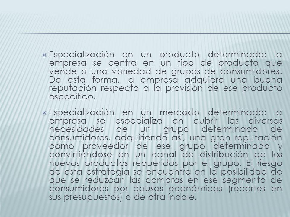 Especialización en un producto determinado: la empresa se centra en un tipo de producto que vende a una variedad de grupos de consumidores. De esta forma, la empresa adquiere una buena reputación respecto a la provisión de ese producto específico.