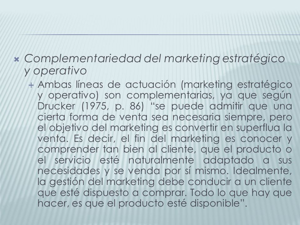 Complementariedad del marketing estratégico y operativo