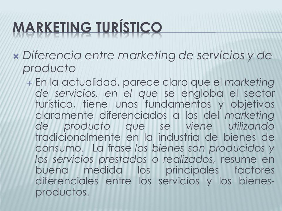 Marketing turístico Diferencia entre marketing de servicios y de producto.