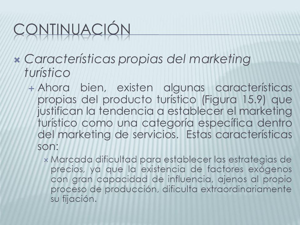 continuación Características propias del marketing turístico