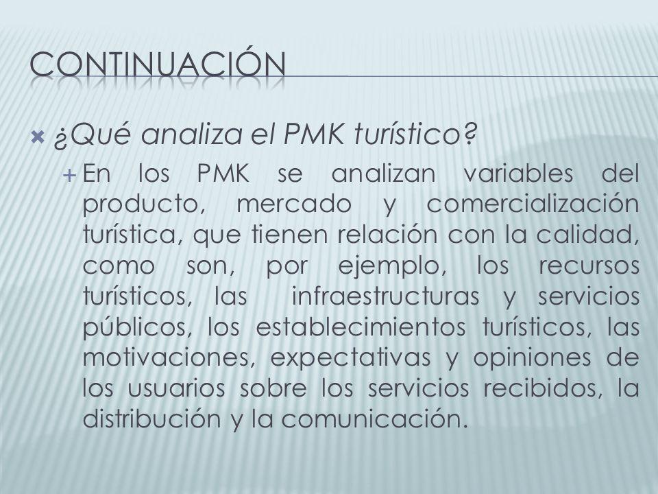 continuación ¿Qué analiza el PMK turístico