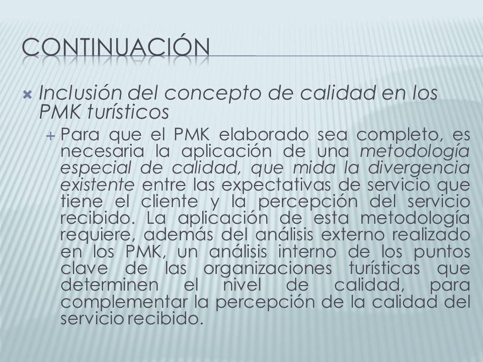 continuación Inclusión del concepto de calidad en los PMK turísticos