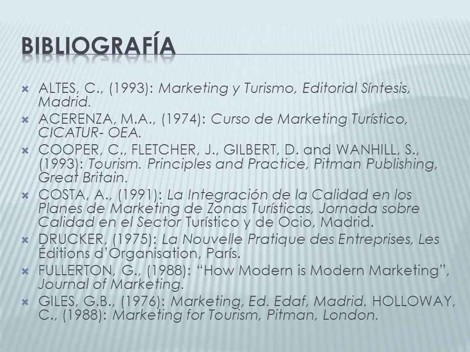 Bibliografía ALTES, C., (1993): Marketing y Turismo, Editorial Síntesis, Madrid. ACERENZA, M.A., (1974): Curso de Marketing Turístico, CICATUR- OEA.