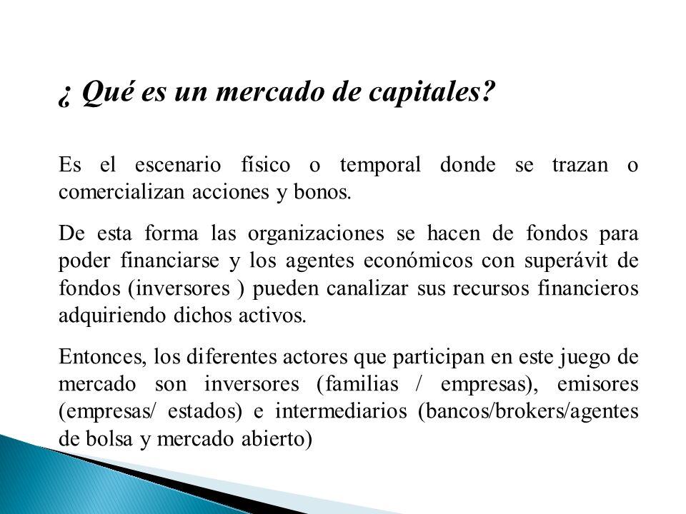 ¿ Qué es un mercado de capitales