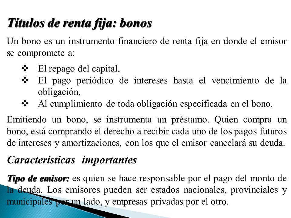 Títulos de renta fija: bonos