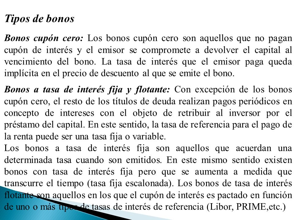 Tipos de bonos