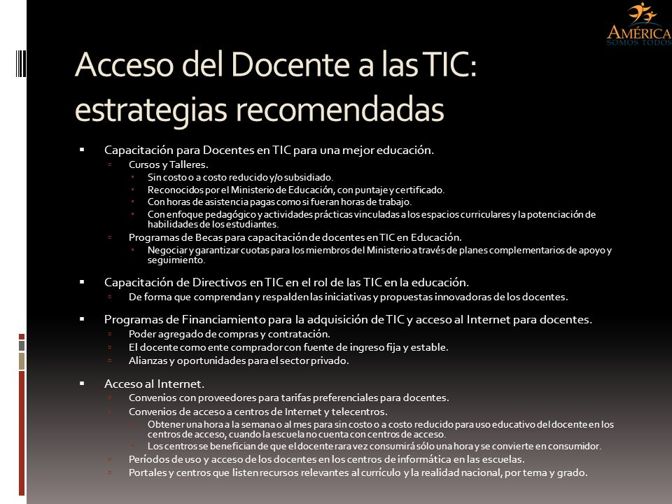 Acceso del Docente a las TIC: estrategias recomendadas