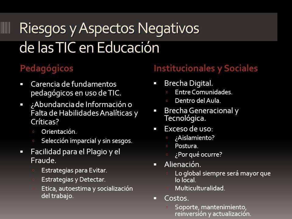 Riesgos y Aspectos Negativos de las TIC en Educación