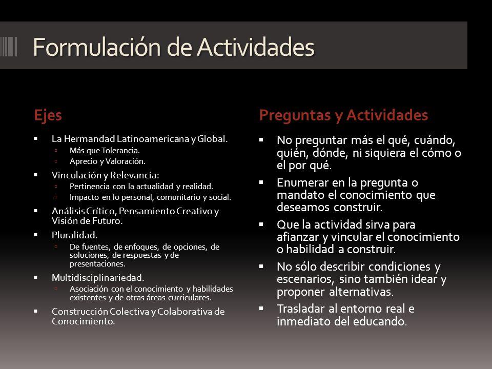 Formulación de Actividades