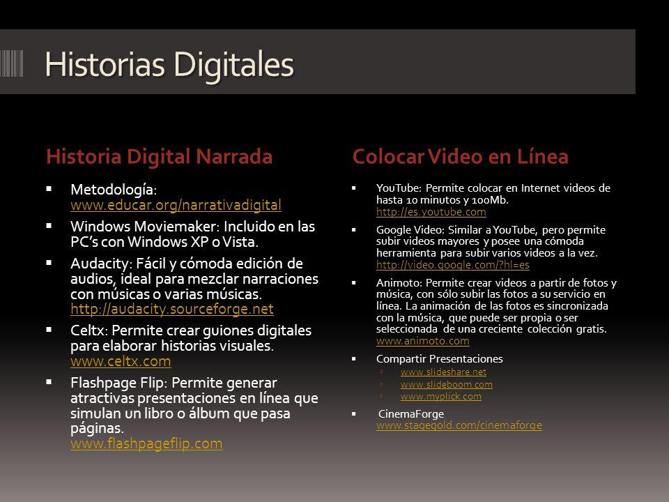 Historias Digitales Historia Digital Narrada Colocar Video en Línea