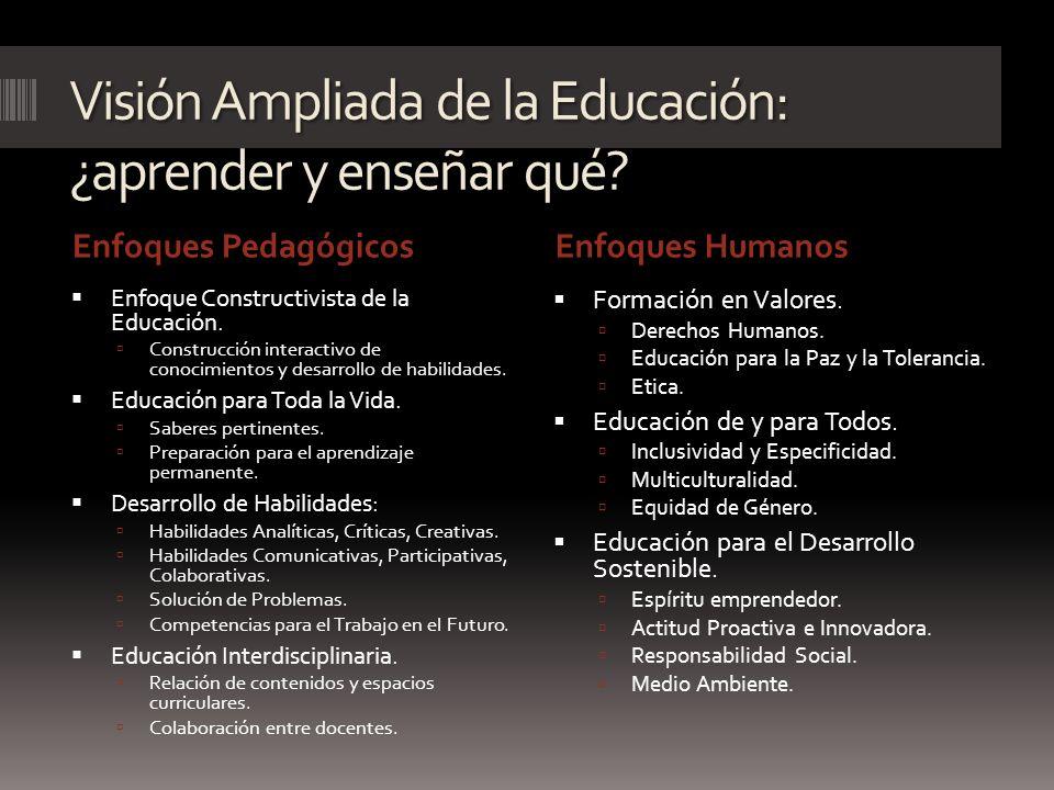 Visión Ampliada de la Educación: ¿aprender y enseñar qué