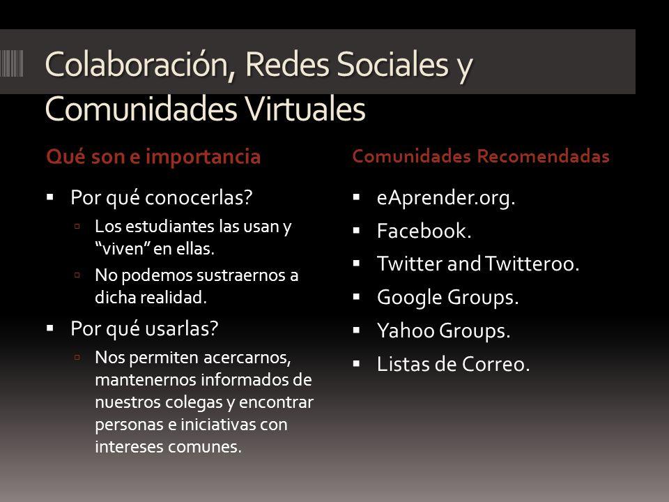 Colaboración, Redes Sociales y Comunidades Virtuales