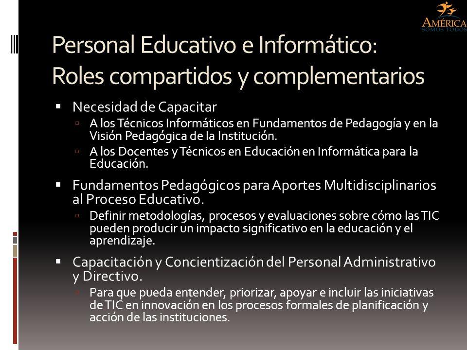 Personal Educativo e Informático: Roles compartidos y complementarios