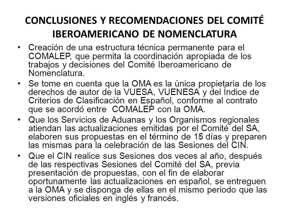 CONCLUSIONES Y RECOMENDACIONES DEL COMITÉ IBEROAMERICANO DE NOMENCLATURA